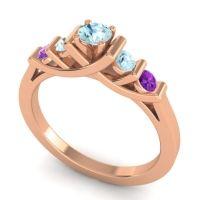 Aquamarine Petite Sapallava Ring with Amethyst in 14K Rose Gold