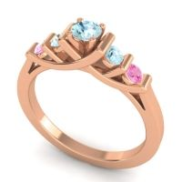 Aquamarine Petite Sapallava Ring with Pink Tourmaline in 14K Rose Gold