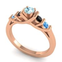 Aquamarine Petite Sapallava Ring with Black Onyx and Swiss Blue Topaz in 14K Rose Gold