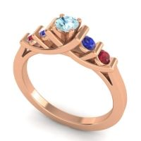 Aquamarine Petite Sapallava Ring with Blue Sapphire and Ruby in 18K Rose Gold