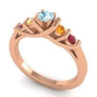Aquamarine Petite Sapallava Ring with Citrine and Ruby in 14K Rose Gold