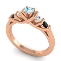 Aquamarine Petite Sapallava Ring with Diamond and Black Onyx in 18K Rose Gold