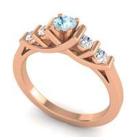 Aquamarine Petite Sapallava Ring with Diamond in 18K Rose Gold