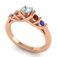 Aquamarine Petite Sapallava Ring with Garnet and Blue Sapphire in 14K Rose Gold