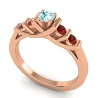 Aquamarine Petite Sapallava Ring with Garnet in 14K Rose Gold