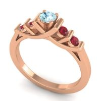 Aquamarine Petite Sapallava Ring with Ruby in 18K Rose Gold