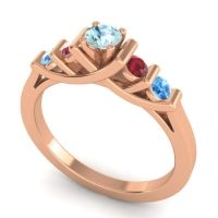 Aquamarine Petite Sapallava Ring with Ruby and Swiss Blue Topaz in 18K Rose Gold