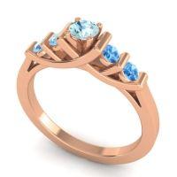 Aquamarine Petite Sapallava Ring with Swiss Blue Topaz in 14K Rose Gold