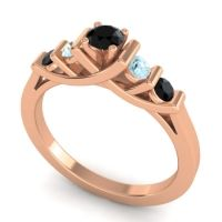 Black Onyx Petite Sapallava Ring with Aquamarine in 14K Rose Gold