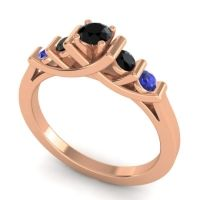 Black Onyx Petite Sapallava Ring with Blue Sapphire in 18K Rose Gold