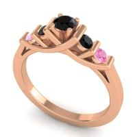 Black Onyx Petite Sapallava Ring with Pink Tourmaline in 18K Rose Gold