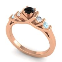 Black Onyx Petite Sapallava Ring with Diamond and Aquamarine in 18K Rose Gold