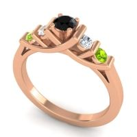 Black Onyx Petite Sapallava Ring with Diamond and Peridot in 18K Rose Gold