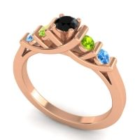 Black Onyx Petite Sapallava Ring with Peridot and Swiss Blue Topaz in 18K Rose Gold
