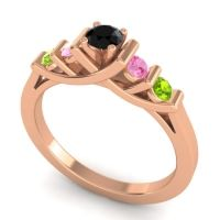 Black Onyx Petite Sapallava Ring with Pink Tourmaline and Peridot in 14K Rose Gold