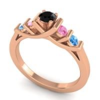 Black Onyx Petite Sapallava Ring with Pink Tourmaline and Swiss Blue Topaz in 18K Rose Gold