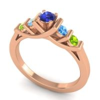 Blue Sapphire Petite Sapallava Ring with Swiss Blue Topaz and Peridot in 18K Rose Gold