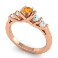Citrine Petite Sapallava Ring with Aquamarine and Diamond in 14K Rose Gold