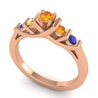 Citrine Petite Sapallava Ring with Blue Sapphire in 14K Rose Gold