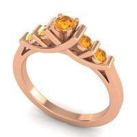 Citrine Petite Sapallava Ring in 18K Rose Gold