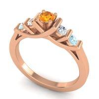 Citrine Petite Sapallava Ring with Diamond and Aquamarine in 18K Rose Gold