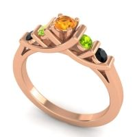 Citrine Petite Sapallava Ring with Peridot and Black Onyx in 18K Rose Gold