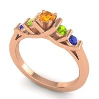 Citrine Petite Sapallava Ring with Peridot and Blue Sapphire in 18K Rose Gold