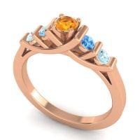Citrine Petite Sapallava Ring with Swiss Blue Topaz and Aquamarine in 14K Rose Gold