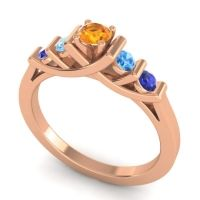 Citrine Petite Sapallava Ring with Swiss Blue Topaz and Blue Sapphire in 18K Rose Gold