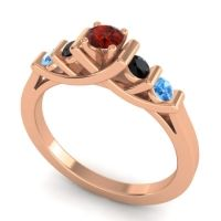 Garnet Petite Sapallava Ring with Black Onyx and Swiss Blue Topaz in 18K Rose Gold