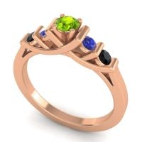 Peridot Petite Sapallava Ring with Blue Sapphire and Black Onyx in 18K Rose Gold