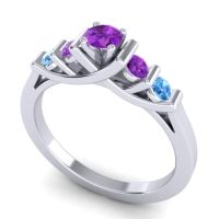 Amethyst Petite Sapallava Ring with Swiss Blue Topaz in Platinum