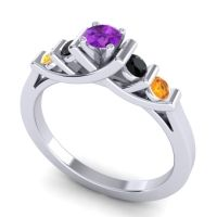 Amethyst Petite Sapallava Ring with Black Onyx and Citrine in Palladium