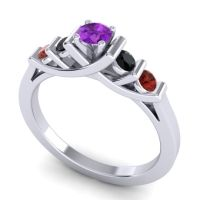 Amethyst Petite Sapallava Ring with Black Onyx and Garnet in 18k White Gold