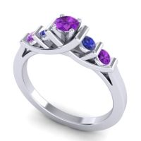 Amethyst Petite Sapallava Ring with Blue Sapphire in Platinum