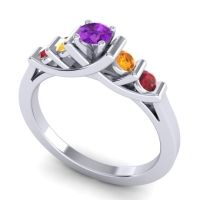 Amethyst Petite Sapallava Ring with Citrine and Ruby in Platinum