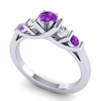 Amethyst Petite Sapallava Ring with Diamond in Platinum