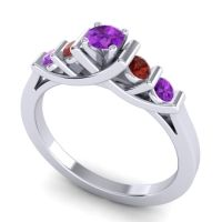 Amethyst Petite Sapallava Ring with Garnet in Platinum