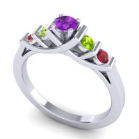 Amethyst Petite Sapallava Ring with Peridot and Ruby in Platinum