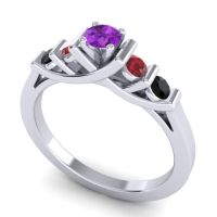 Amethyst Petite Sapallava Ring with Ruby and Black Onyx in Palladium