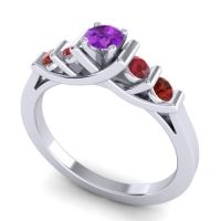 Amethyst Petite Sapallava Ring with Ruby and Garnet in Platinum