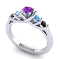 Amethyst Petite Sapallava Ring with Swiss Blue Topaz and Black Onyx in Palladium