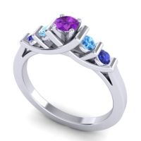 Amethyst Petite Sapallava Ring with Swiss Blue Topaz and Blue Sapphire in 14k White Gold