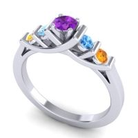 Amethyst Petite Sapallava Ring with Swiss Blue Topaz and Citrine in 14k White Gold