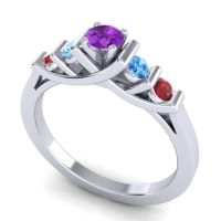 Amethyst Petite Sapallava Ring with Swiss Blue Topaz and Ruby in 14k White Gold