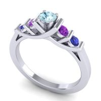 Aquamarine Petite Sapallava Ring with Amethyst and Blue Sapphire in Palladium
