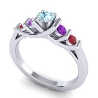Aquamarine Petite Sapallava Ring with Amethyst and Ruby in 14k White Gold