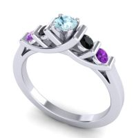 Aquamarine Petite Sapallava Ring with Black Onyx and Amethyst in 14k White Gold