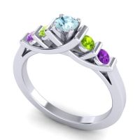 Aquamarine Petite Sapallava Ring with Peridot and Amethyst in 14k White Gold