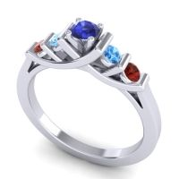 Blue Sapphire Petite Sapallava Ring with Swiss Blue Topaz and Garnet in Palladium